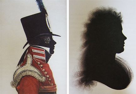 A two photo sequence showing, a soldier in silhouette with coloured uniform and a woman with well worked hair detail made with layers of thinned paint, built up over many applications