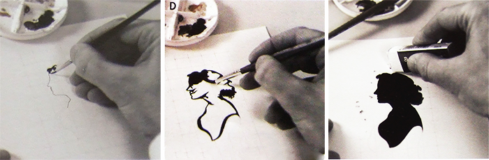 A three photo sequence showing the process of painting a silhouette