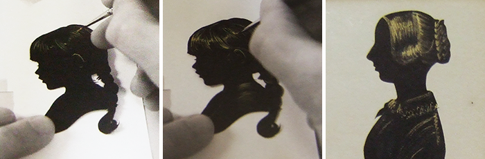 A three photo sequence showing the process of bronzing a silhouette and the final outcome