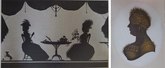 Two painted silhouettes, on the left a 'conversation piece' showing two seated women talking, by Francis Torond, on the right a bust-length portrait of a woman, by John Field.