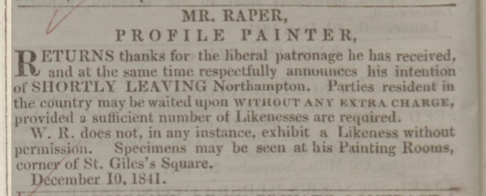 19th C newspaper advert for profile painter and silhouette artist, Mr Raper