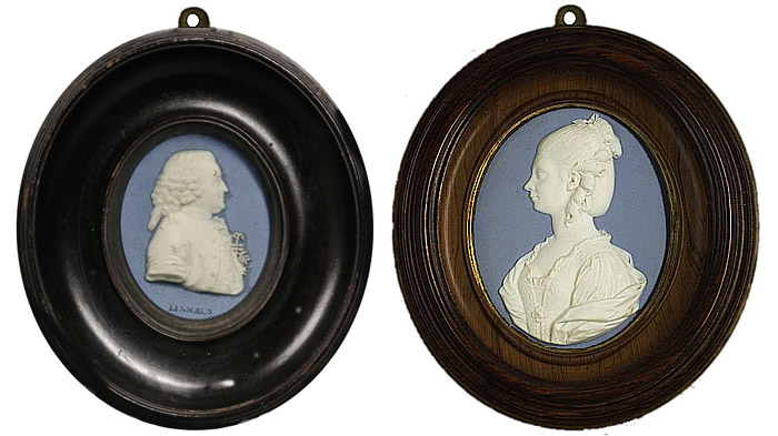 Photo of Wedgwood & Bentley Solid Blue Portrait Medallions, of the Young Queen Charlotte, c.1779, and of Linnaeus