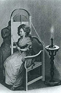 Illustration of silhouette machine, showing woman seated in chair, with artist taking her profile on the otherside of a shadowgraph screen