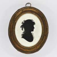 Front of silhouette, in frame, with woman looking right, wearing a hat with ribbons.