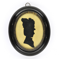 Front of Silhouette, in frame, with woman looking right, with an hat