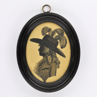 Front of Silhouette, in frame, with woman looking left wearing a hat decorate with  plumesd