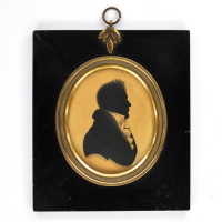 Front of Silhouette, in frame, with man looking right
