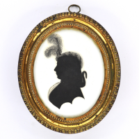 Front of Silhouette, in frame, with woman looking left and wearing a hat decorated with  plume