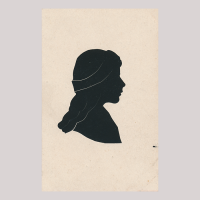 Front of silhouette, with girl looking right, wearing a ribbon.