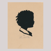 Front of silhouette, with a boy looking right.
