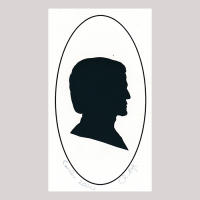 Front of silhouette, in painted oval frame, with man looking right.