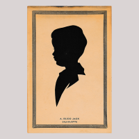 Front of silhouette, in painted square frame, with boy looking left.