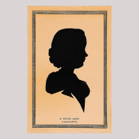 Front of silhouette, in painted square frame, with woman looking right.