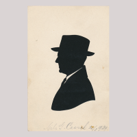 Front of silhouette, with man looking left, wearing a suit and a hat.