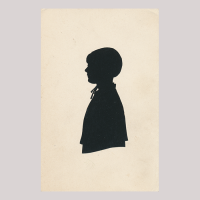 Front of silhouette, with a girl looking left, wearing a bonnet and a ribbon.