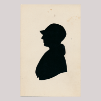 Front of silhouette, with a woman looking left, wearing a hat and a fur collar.