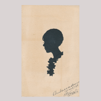 Front of silhouette, with a girl looking left, wearing a necklace.