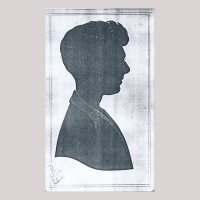 Front of silhouette, with a man looking right.