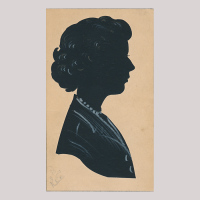 Front of silhouette, with a woman looking right.