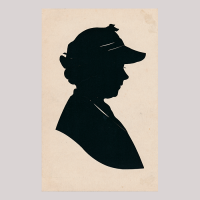 Front of silhouette, with a woman looking right, wearing a hat.