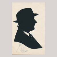 Front of silhouette, with a man looking right, wearing a suit and a hat.