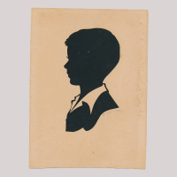 Front of silhouette, with boy looking left.
