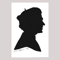 Fornt of silhouette, with man looking right, wearing a hat.