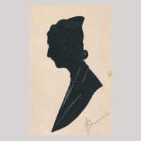 Front of silhouette, with a man looking left, wearing a hat.