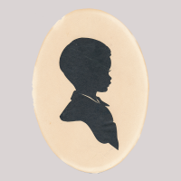 Front of silhouette, boy looking right