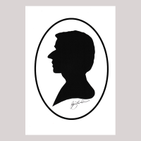 Front of silhouette, with man looking left with painted oval frame.