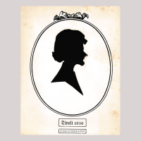 Front of silhouette, with woman looking right, in painted oval frame.