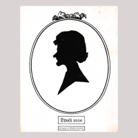Front of silhouette, with man looking left, in painted oval frame, in the bottom the text, Tivoli 1956, Kilppet at inger eidem
