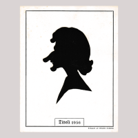 Front of silhouette, with a caricature of a human being, in a painted square frame.