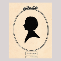 Front of silhouette, woman looking left, in painted oval frame.