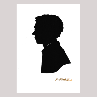 Front of silhouette, with man looking left.
