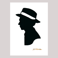 Front of silhouette, with man looking left, wearing a hat.