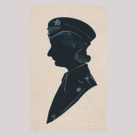 Front of silhouette, with woman looking left, wearing military uniform.