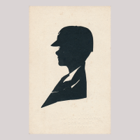 Front of silhouette, with boy looking left, wearing a hat.