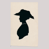 Front of silhouette, with woman looking left, wearing a floreal hat.