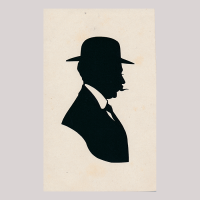 Front of silhouette, Man looking to the right