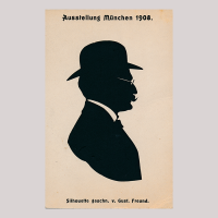 Front of silhouette, Man wearing glasses looking right