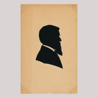 Front of silhouette, Man with long beard looking right