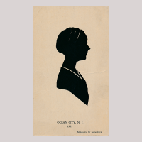 Front of silhouette, Woman looking right