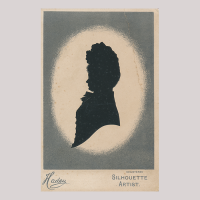 Front of silhouette, Woman looking left