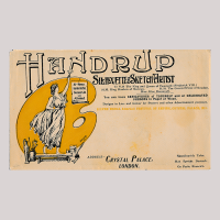 Envelope addressed to The king and Queen of Denmark, inviting them to a garden party with Handrup's work on display