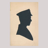 Front of silhouette, Man in uniform looking to the right