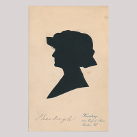 Front of silhouette, Woman wearing a hat and looking to the left