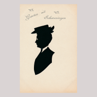 Front of silhouette, Man with a white collar looking to the left