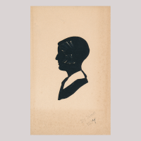 Front of silhouette, Boy with a white collar looking to the left