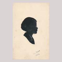 Front of silhouette, Woman wearing glasses and looking to the right